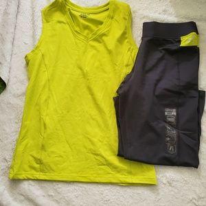 BCG Women's Charcoal/Yellow Compression Capri